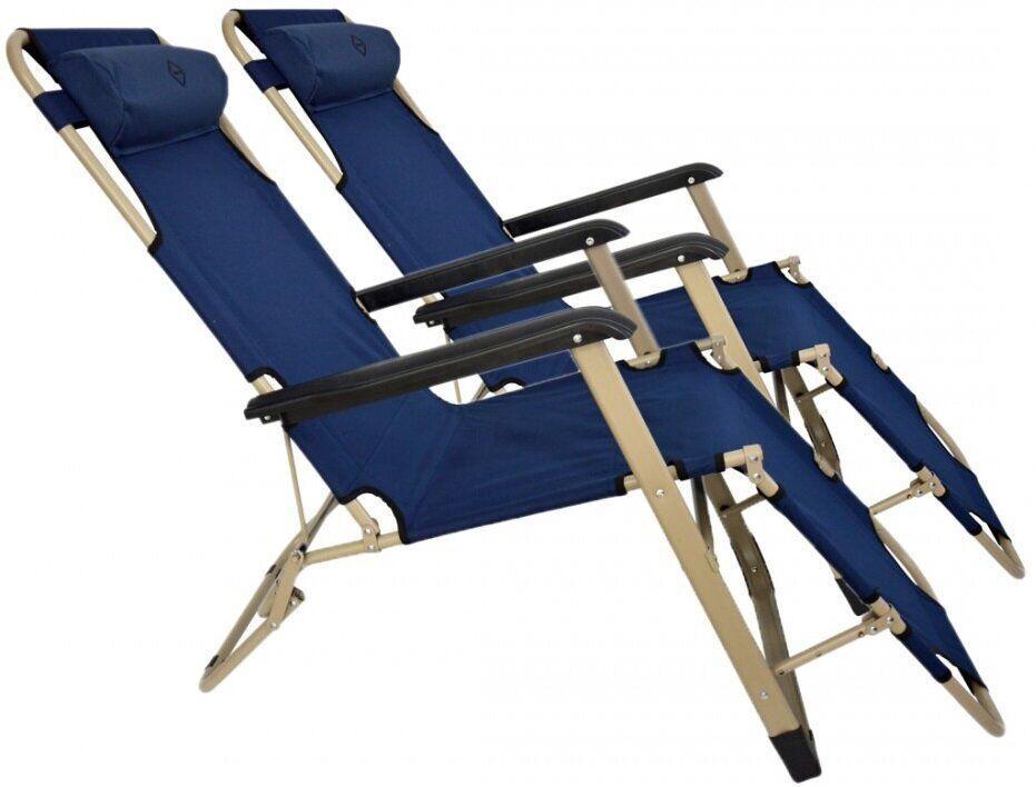 Шезлонг Bonro 180 см темно-синього кольору на 3 положення комплект з 2-х штук
