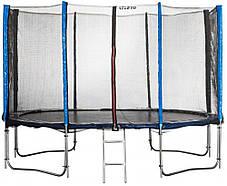 Батут Atleto 490 см. с защитной сеткой и лестничкой 3 места