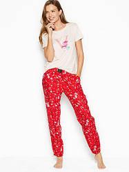Хлопковая Пижама Victoria's Secret Cotton & Flannel Long PJ Set, Красная в цветочек