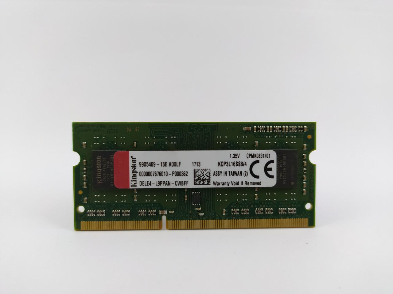 Оперативная память для ноутбука SODIMM Kingston DDR3L 4Gb 1600MHz PC3L-12800S (KCP3L16SS8/4) Б/У