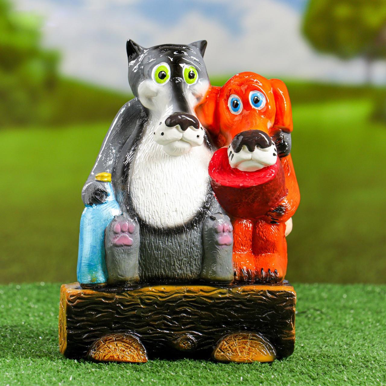 Садовий декор Вовк та Пес на брівні 24 см кераміка