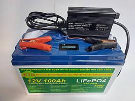 Аккумулятор для лодки, катера тяговый LiFePo4  ETU 12V 100AH + Зарядное. Гарантия 18 мес
