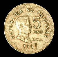 Монета Филиппин 5 песо 1997 г. Эмилио Агинальдо