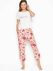 Хлопковая Пижама Victoria's Secret Cotton & Flannel Long PJ Set, с вишенками L