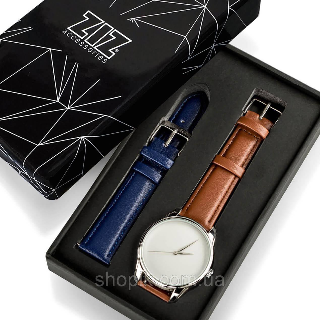Годинник ZIZ Мінімалізм (ремінець кавово - шоколадний, срібло) + додатковий ремінець SHOPIK
