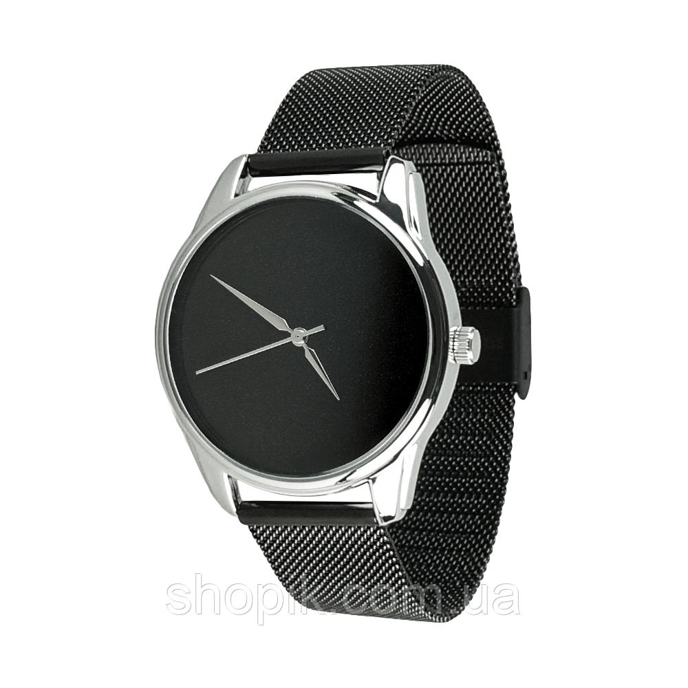 Часы ZIZ Минимализм черный (ремешок из нержавеющей стали черный) + дополнительный ремешок SHOPIK