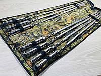 Набор шампуров СЕРЕБРО, ручной работы (7 шт + чехол книжка)