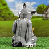 """Садовий декор Вовк з табличкою """"Щас спою"""" 35 см кераміка, фото 3"""