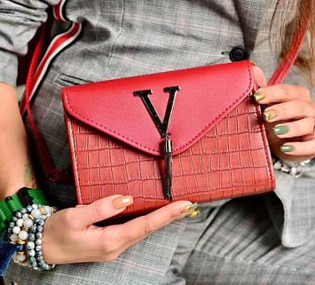 Женская сумка клатч красная код 7-8010
