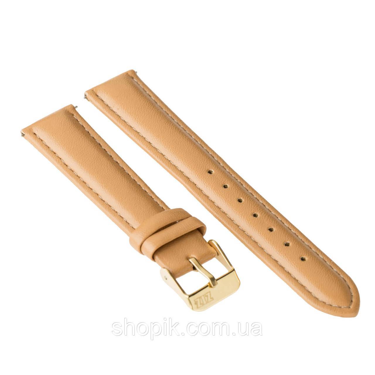 Ремінець для годинника ZIZ (карамельно - коричневий, золото) SHOPIK