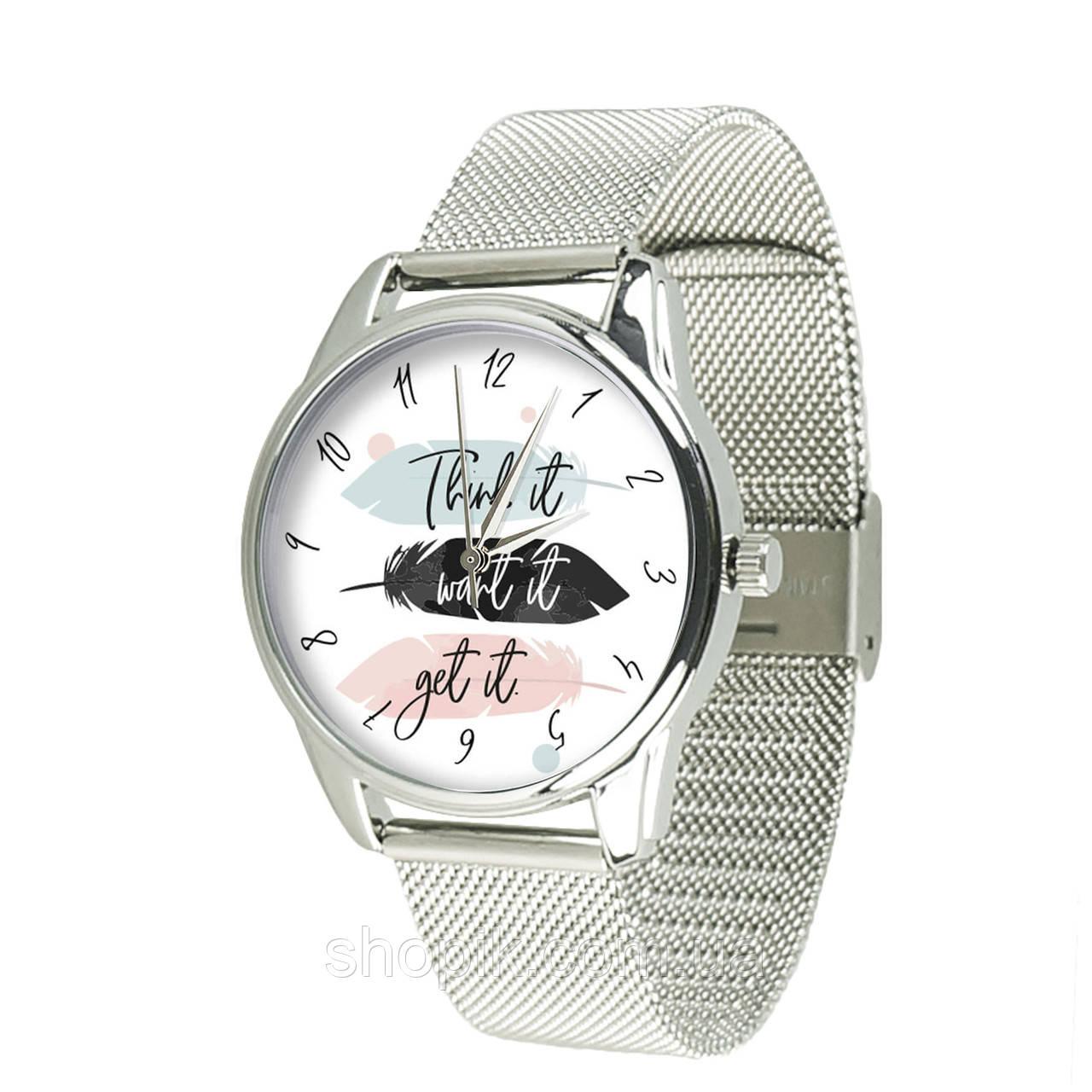 Годинник ZIZ Думай бажай отримуй (ремінець з нержавіючої сталі срібло) + додатковий ремінець SHOPIK