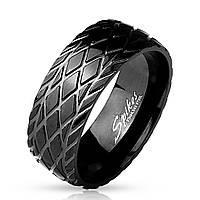 Мужское черное кольцо от Spikes R-M4394, р. 19, 20, 20.5, 21.5, 22