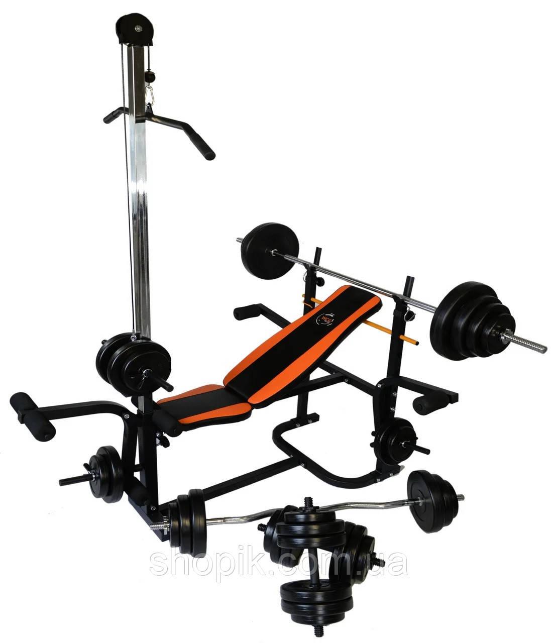 Лава тренувальна WCG 0070 + тяга, Скотта набір штанга 98 кг, Лавка з тягою, партою Скотта + набір 98 кг