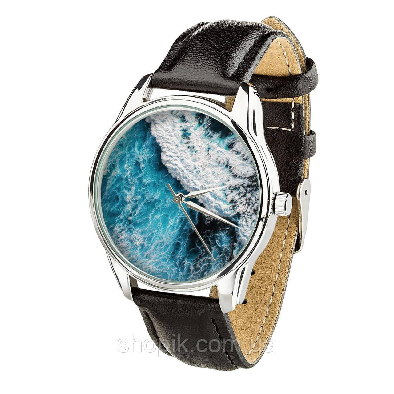 Часы ZIZ Океаническая волна (ремешок насыщенно - черный, серебро) + дополнительный ремешок SHOPIK
