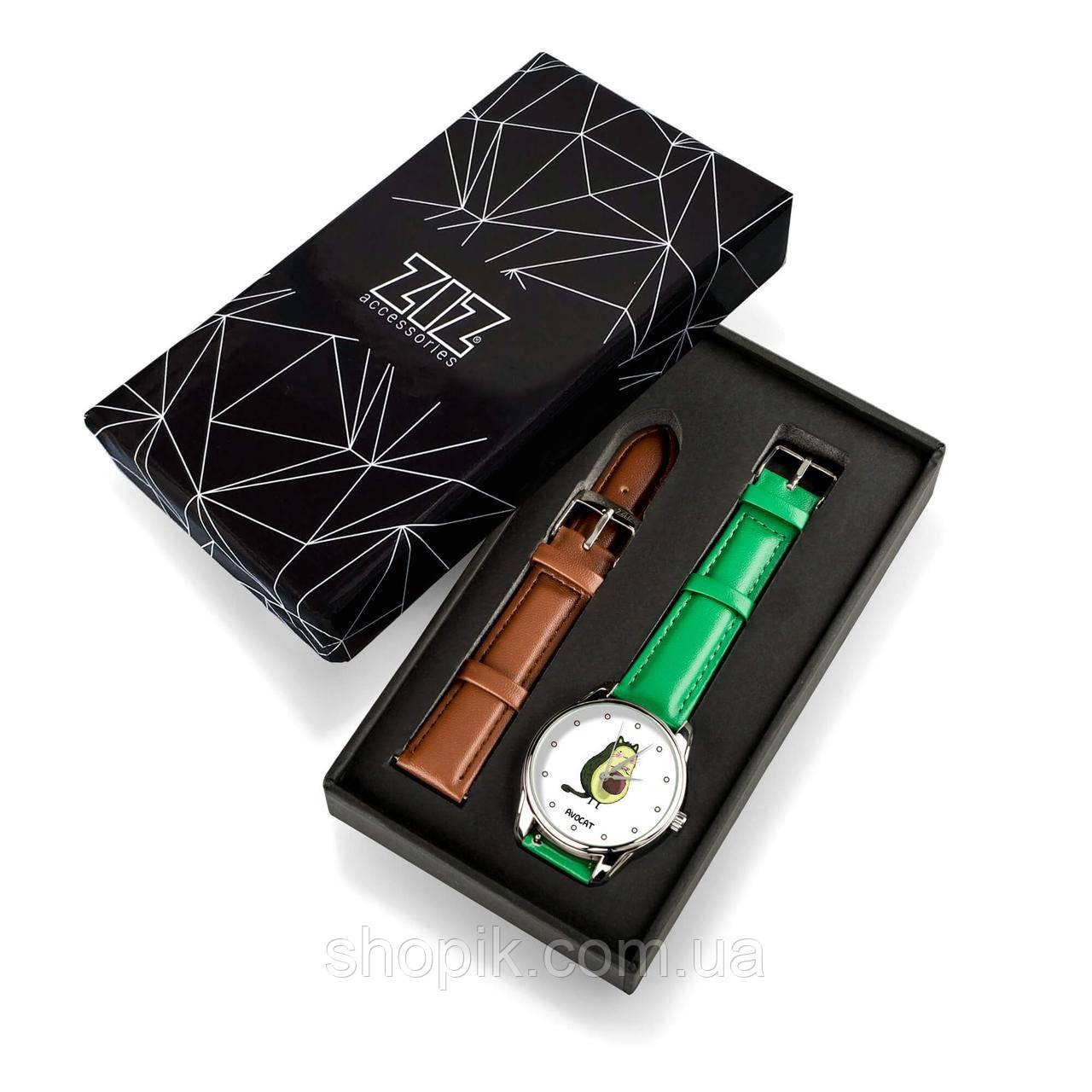 Годинник ZIZ Авокот (ремінець смарагдово - зелений, срібло) + додатковий ремінець SHOPIK