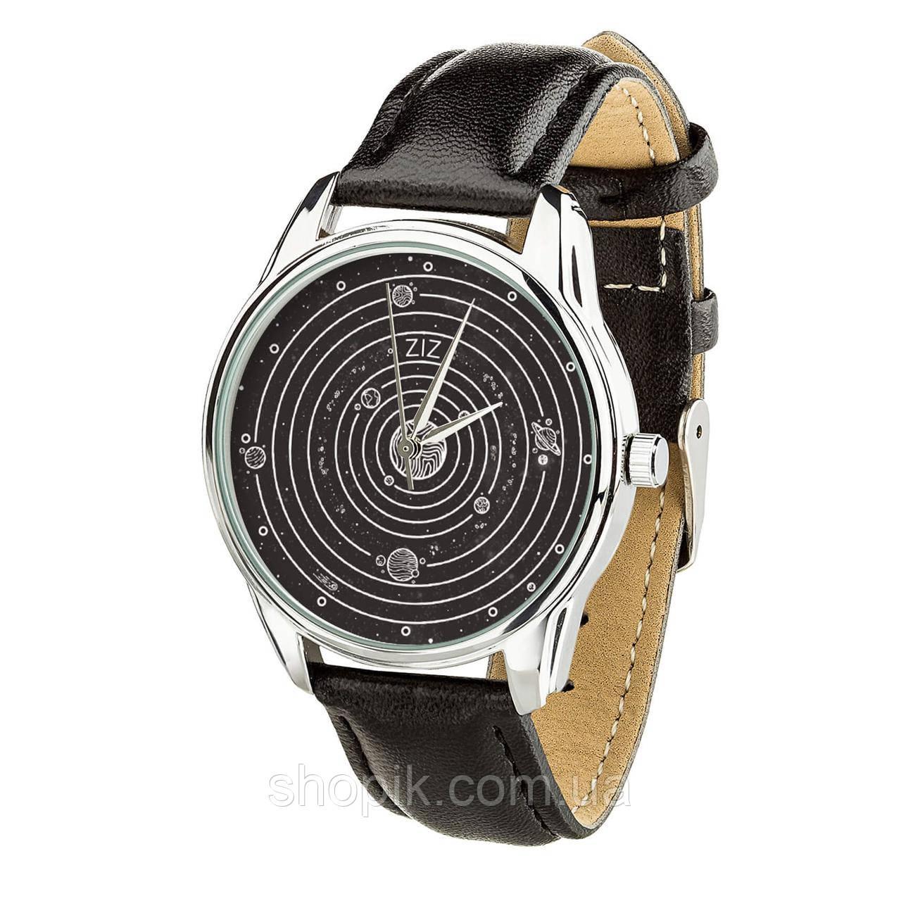 Часы ZIZ Планеты (ремешок насыщенно - черный, серебро) + дополнительный ремешок SHOPIK