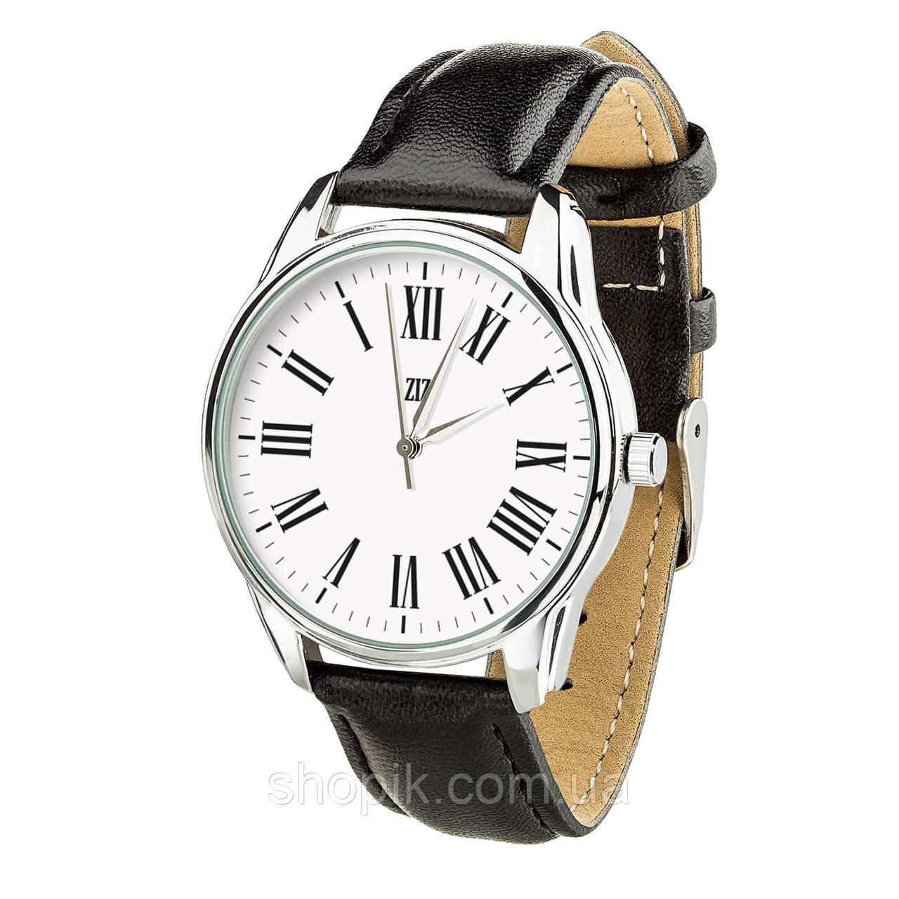 Часы ZIZ с обратным ходом Возвращение (ремешок насыщенно - черный, серебро) + дополнительный ремешок SHOPIK