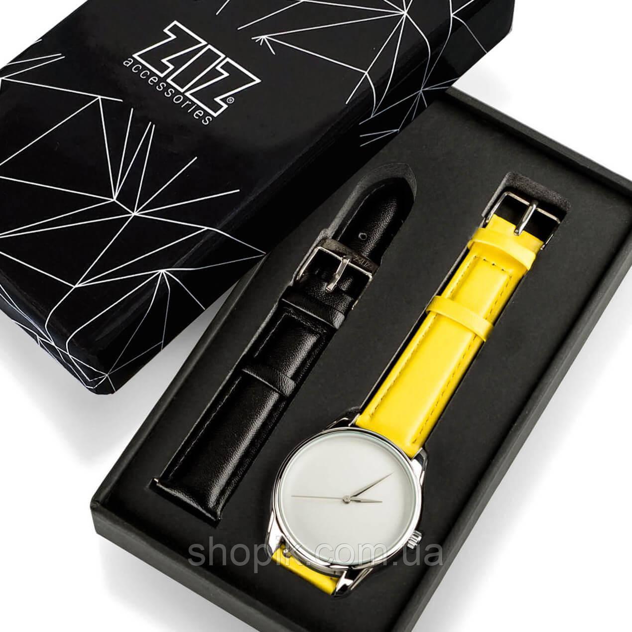 Часы ZIZ Минимализм (ремешок лимонно - желтый, серебро) + дополнительный ремешок SHOPIK