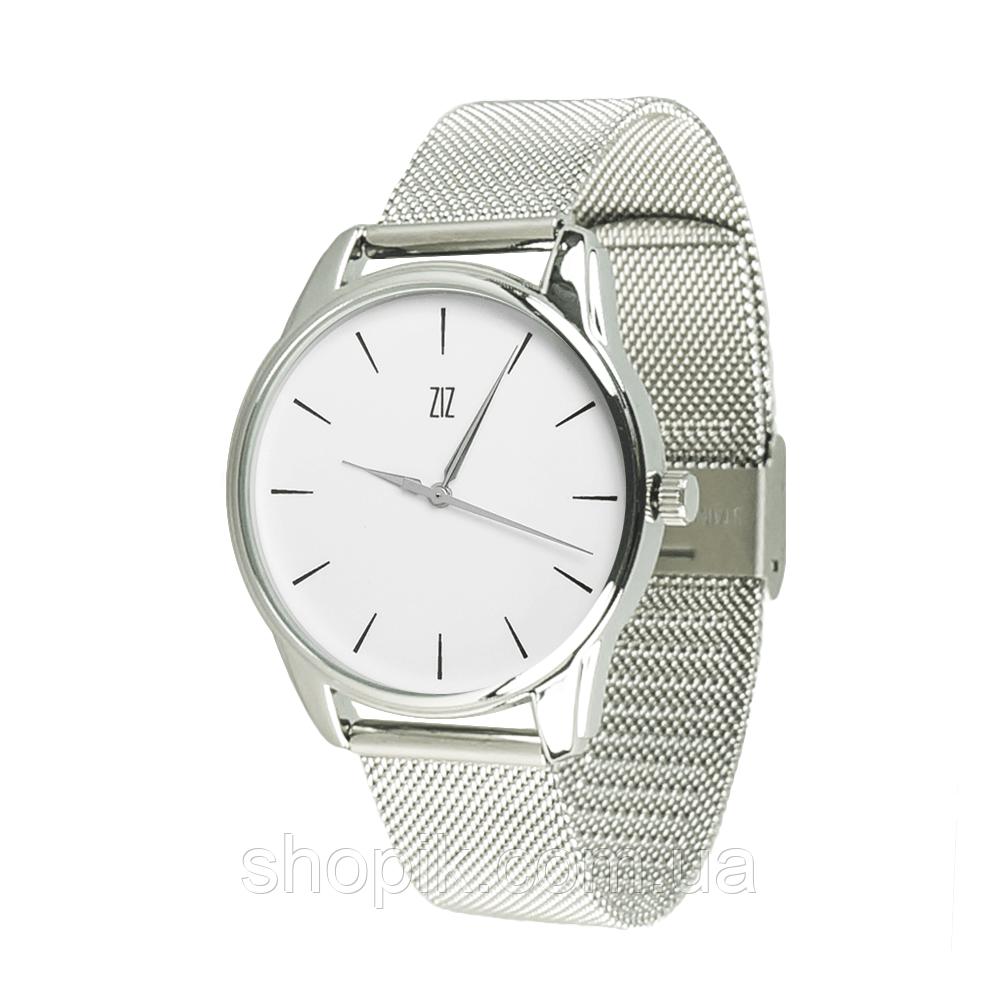 Часы ZIZ Черным по белому (ремешок из нержавеющей стали серебро) + дополнительный ремешок SHOPIK