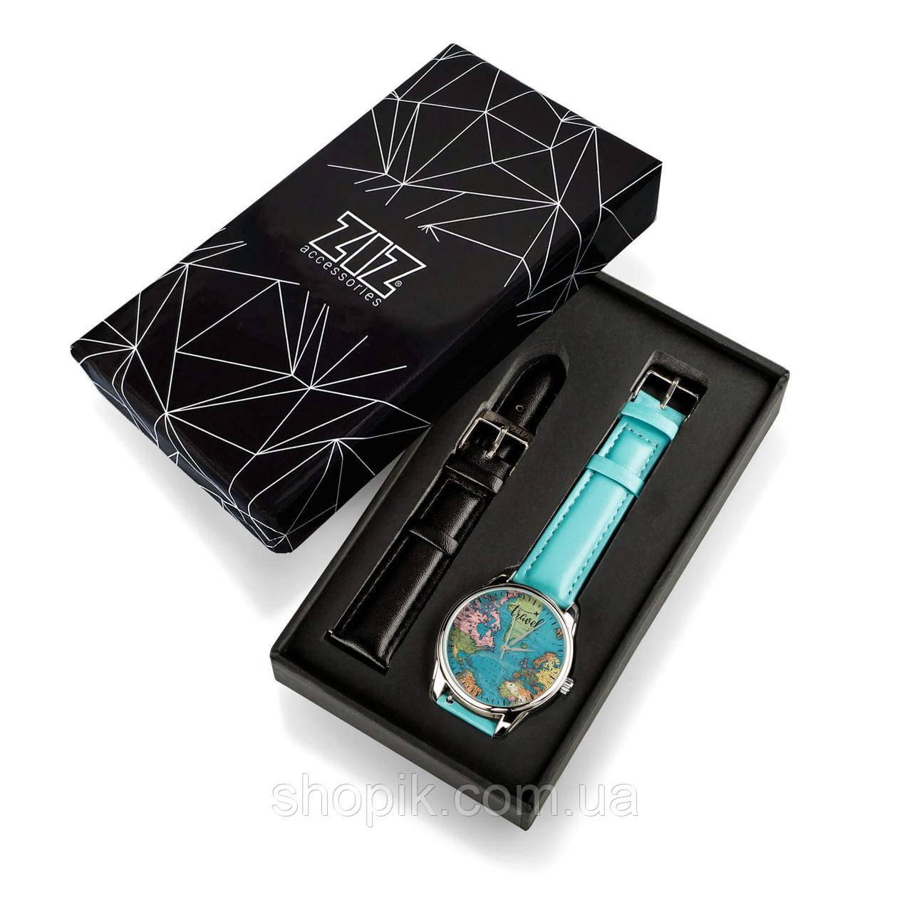Часы ZIZ Карта путешествий (ремешок небесно - голубой, серебро) + дополнительный ремешок SHOPIK