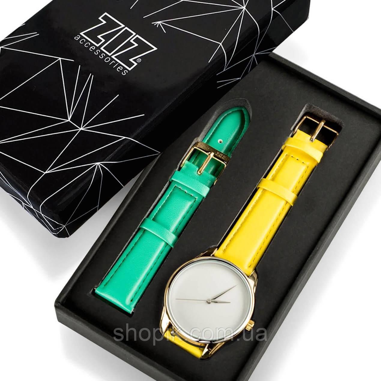 Часы ZIZ Минимализм (ремешок лимонно - желтый, золото) + дополнительный ремешок SHOPIK