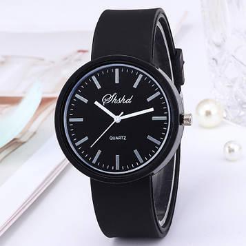 Жіночі годинники c чорним силіконовим ремінцем код 614-1