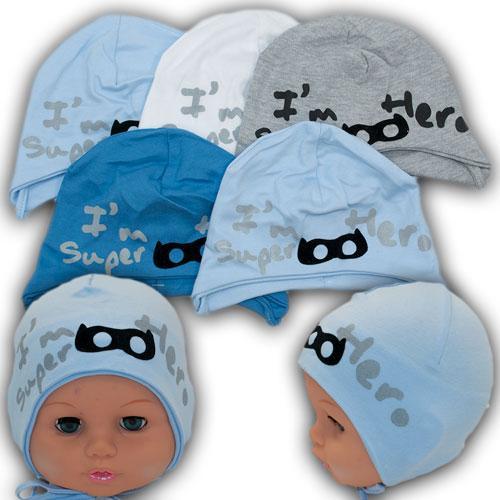 Трикотажные шапки на завязках для мальчика, р. 36-38