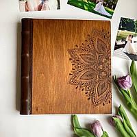 Альбом с дерева   Подарок ручной работы   FILWOOD   Мандала   Альбом семейный   Натуральная кожа