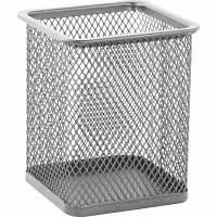 Подставка для ручек квадратная 80х80х95 мм металлическая Buromax . ВМ.6201-24 серебро