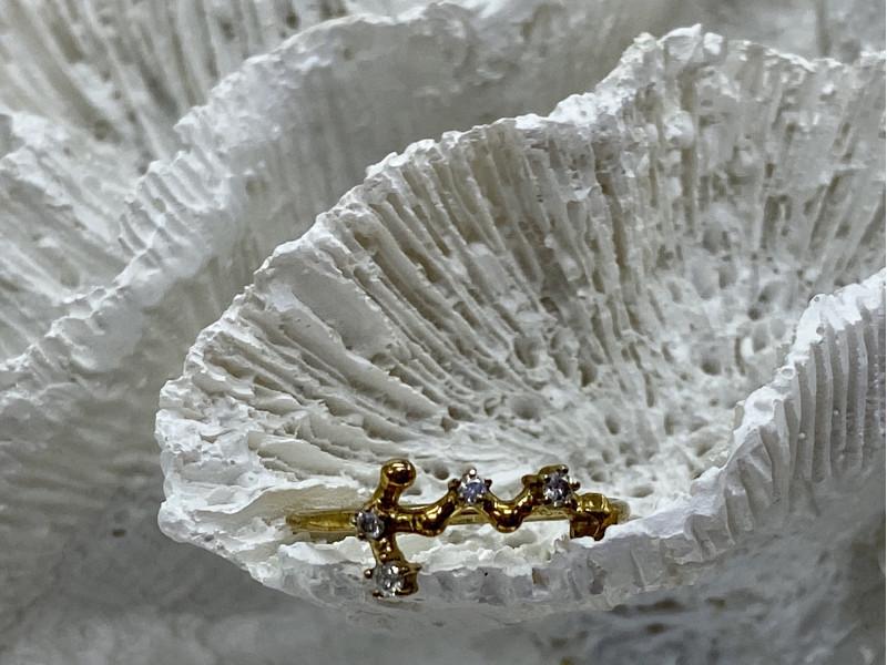 Серебряное кольцо в позолоте с бриллиантами