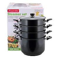 Пароварка Kamille 4-х рівнева 10л з вуглецевої сталі для приготування їжі для індукції і газу KM-5833