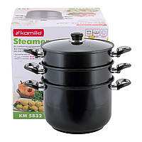 Пароварка Kamille 3-х рівнева 10л з вуглецевої сталі для приготування їжі для індукції і газу KM-5832