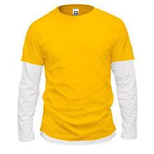 Чоловіча жовта комбінована футболка з довгими рукавами