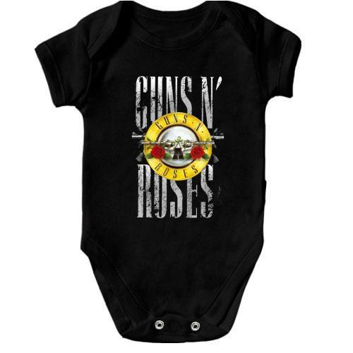 Дитячий боді з написом і лого Guns n` roses