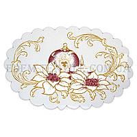Салфетка декоративная Свеча и шарик с ангелом, Бежевый