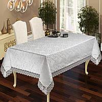Скатерть с кружевом на стол в гостиную Sultan, Серый, 160х220