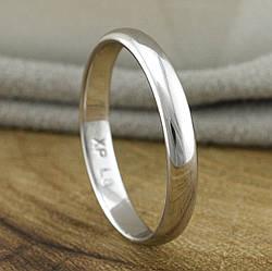 Кольцо обручальное Xuping 14046 ширина 3 мм позолота Белое золото размер 19