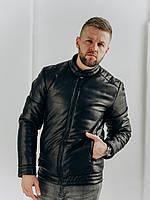 Трендовая мужская куртка з эко-кожи , размер S,M,L,XL,XXL