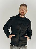 Стеганная мужская куртка на весну черного цвета, размер S,M,L,XL,XXL