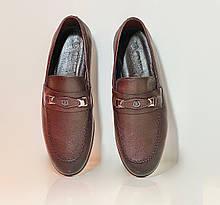Туфли повседневные, лоферы мужские кожаные коричневые фабричная Турция