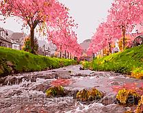 Картина по номерам Brushme Река у сакуры GX25577 40*50см Пейзаж Природа Вода горы дерево Сакура Япония