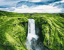 Картина по номерам Brushme Место силы GX27586 40*50см Пейзаж Природа Вода горы лодка водопад