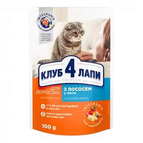 Клуб 4 лапи д/котів ПАУЧ 0,1 кг з лососем в желе