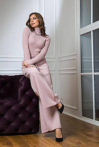 Вязаный женский костюм Классик пудра