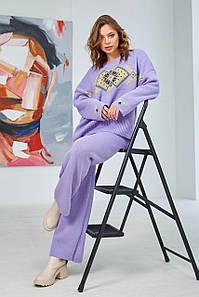 Вязаный костюм Этно лиловый