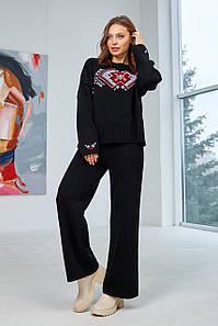 Вязаный костюм Этно черный с красным
