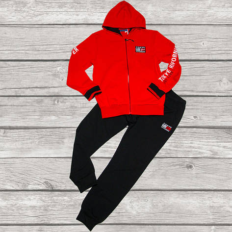 Стильный спортивный костюм для мальчика 134-140 рост красный, фото 2