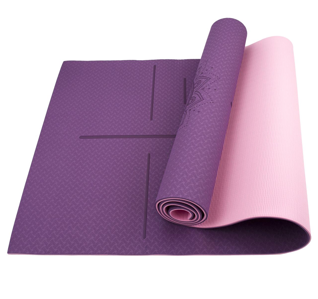 Коврик (мат) для йоги и фитнеса Sportcraft TPE 6 мм ES0025 Plum/Pink