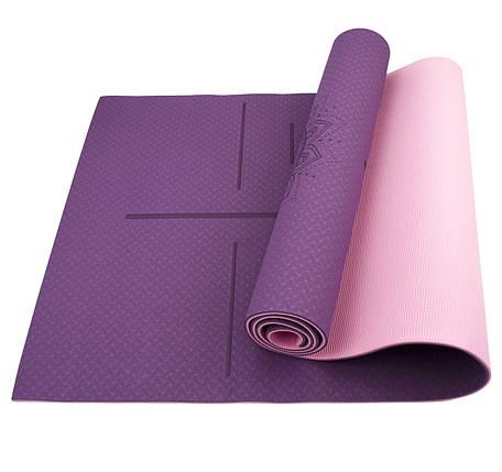 Коврик (мат) для йоги и фитнеса Sportcraft TPE 6 мм ES0025 Plum/Pink, фото 2