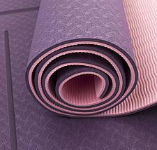 Коврик (мат) для йоги и фитнеса Sportcraft TPE 6 мм ES0025 Plum/Pink, фото 3